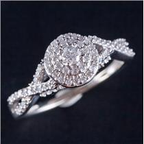 10k White Gold Round Cut Diamond Double Halo Style Engagement Ring .62ctw