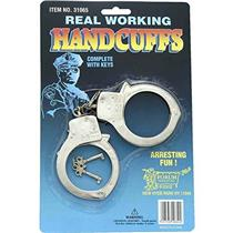 Real Working Handcuffs Costume Accessory with Keys