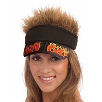 3 In 1 Hair Hat Fire Flame Sun Visor Wig  Spikes Surfer