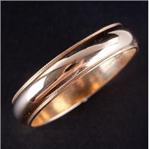 14k Yellow Gold Traditional Milgrain Style Half Round Wedding Band / Ring 4.0g