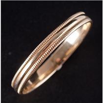 10k Yellow Gold Traditional Milgrain Style Half Round Wedding Band / Ring 1.7g