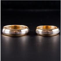 18k Yellow Gold & Platinum Matching Bride & Groom Wedding Band Set 15.1g
