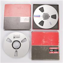 """4 Ampex Scotch 1/4″ & 1/2"""" Empty Metal Take Up Reels #35952"""