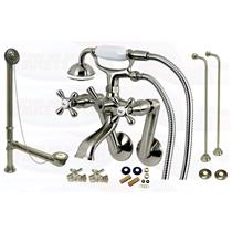 Satin Brushed Nickel Tub Mount Clawfoot Bathtub Filler Faucet Kit W/Hand Shower - KBFP - CCK269SN-SO