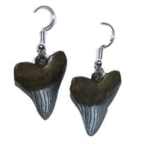 MEGALODON Shark TOOTH Earrings (Not Real Fossils - Metal Replicas) #12067 2o