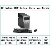 HP ProLiant ML310e Gen8 Tower + E3-1220 v2 Quad-Core Xeon 3.1GHz + 16GB RAM + 4×4TB 7.2K SATA + P410