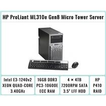 HP ProLiant ML310e Gen8 Tower + E3-1240 v2 Quad-Core Xeon 3.4GHz + 16GB RAM + 4×4TB 7.2K SATA + P410