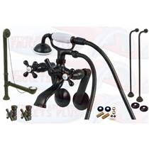 Oil Rubbed Bronze Tub Mount Clawfoot Bathtub Filler Faucet Kit W/Hand Shower - KBFP - CCK269ORB-SO