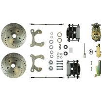 1958-1964 Chevy Impala Manual Front Disc Brake Kit Drilled Black Calipers