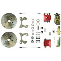 1955-1957 Chevy Full Size Manual Front Disc Brake Kit Drilled Red Calipers