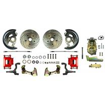 1964-1972 Chevelle Manual Front Disc Brake Kit Drilled Rotors Red Caliper