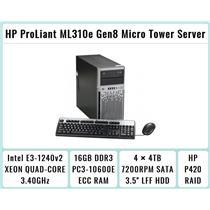 HP ProLiant ML310e Gen8 Tower + E3-1240 v2 Quad-Core Xeon 3.4GHz + 16GB RAM + 4×4TB 7.2K SATA + P420