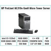 HP ProLiant ML310e Gen8 Tower + E3-1220 v2 Quad-Core Xeon 3.1GHz + 16GB RAM + 4×4TB 7.2K SATA + P420
