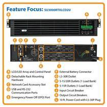 Tripp Lite SU3000RTXLCD2U 3000VA 2700W 120V Smart-UPS Online Double-Conversion