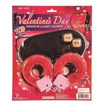Valentine's Day 3 Piece Lovers Kit Sexy Red Handcuffs Blindfold DIce