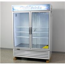 "Used: Turbo Air TGM-50RS 56"" White Reach-In Refrigerator Merchandiser-Swing Glass Door"