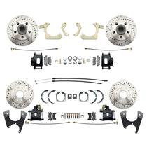 55-58 Chevy Car Front & Rear Disc Brake Wheel Kit Drilled Slotted Black Caliper