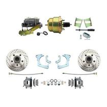 59-64 Chevy Full Size Power Front Disc Brake Kit Drilled Slotted Raw Caliper