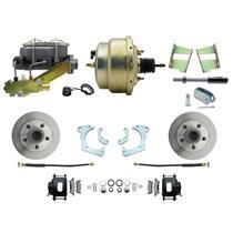 59-64 Chevy Full Size Power Front Disc Brake Kit Standard Rotor Black Caliper