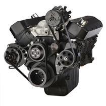Black Chevy Big Block Serpentine Conversion Kit - AC, Alternator & Power Steering, Long Water Pump
