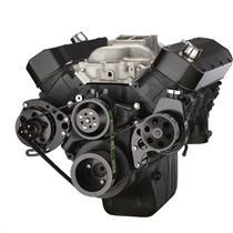 Black Chevy Big Block Gen. VI Serpentine Conversion Kit - Power Steering, Long Water Pump
