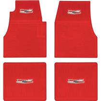 OER 1955-57 Bel Air Red 4 Piece Ribbed Rubber Floor Mat Set with Bel Air Crest Logo M55202