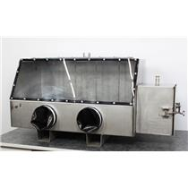 Used: Unbranded Stainless Steel Glove Box Isolation Chamber w/ Passthrough Chamber