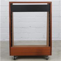 12U 12 Space Solid Wood Slanted Studio Gear Rack w/ Wheels & 2U Panel #40253