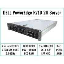 DELL PowerEdge R710 Server 2×Six-Core Xeon 3.06GHz + 72GB RAM + 6×3TB SATA H700