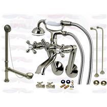 Satin Brushed Nickel Tub Mount Clawfoot Bathtub Filler Faucet Kit W/Hand Shower - KBFP - CCK269SN-SO