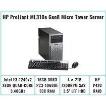 HP ProLiant ML310e Gen8 Tower + E3-1240 v2 Quad-Core Xeon 3.4GHz + 16GB RAM + 4×2TB 7.2K SATA + P420