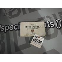 1996 DODGE RAM 5.9 12 VALVE CUMMINS OWNER MANUAL DIESEL
