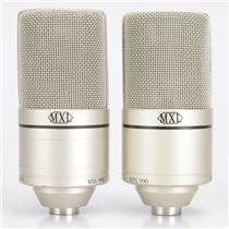 2 MXL 990 Studio Condenser Microphones 48V w/ Mic Clip #42382
