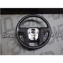2010 - 2011 FORD F150 XLT OEM LEATHER WRAPPED STEERING WHEEL DARK BROWN CONTROLS