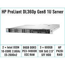 HP DL360p Gen8 Server 2×E5-2680v2 Xeon 10-Core 2.8GHz + 96GB RAM + 3×600GB SAS