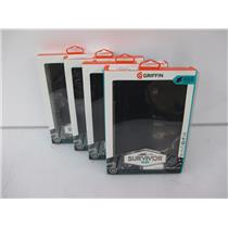 LOT OF 4 - Griffin GB41829 Survivor Slim Case for 2015 Galaxy Tab A 8.0 (Black)