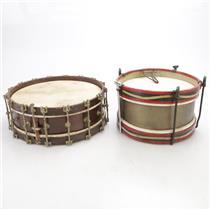 2 1900's Antique Vintage Wood Snare Drums Calfskin Head J. W. York & Sons #44359