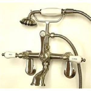 Kingston Brass CC53T8 Vintage Adjustable Wall Mount ClawFoot Tub-Shower Mixer Faucet - Satin Nickel