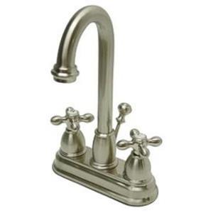 """Kingston Brass KB3618AX Restoration 4"""" Centerset Bathroom Sink Faucet - Satin Nickel"""