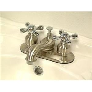"Kingston Brass KB607X Victorian 4"" Centerset Bathroom Sink Faucet - Satin Nickel With Chrome Trim"