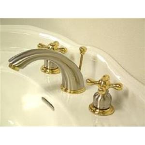 Kingston Brass KB979X Victorian Widespread Bathroom Sink Faucet - Satin Nickel With Brass Trim