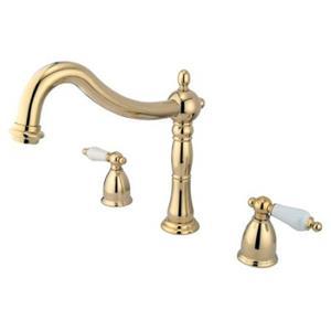 Kingston Brass KS1342PL Heritage Roman Tub Filler With Porcelain Lever Handle - Polished Brass