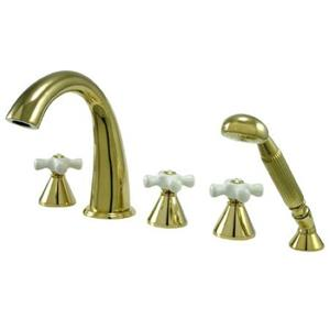 Kingston Brass KS23625PX Roman Tub Filler With Hand Shower & Porcelain Cross Handle - Polished Brass