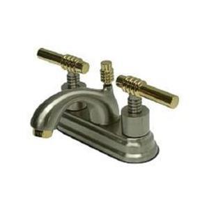 "Kingston Brass KS2609ML Milano 4"" Centerset Bathroom Sink Faucet - Satin Nickel With Brass Trim"