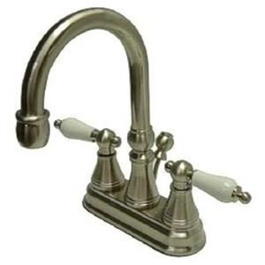 Kingston Brass KS2618PL Governor Classic High Rise Spout Bathroom Sink Faucet - Satin Nickel