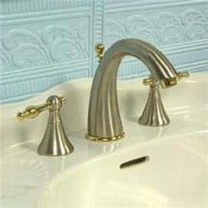 Kingston Brass KS2979NL Naples  Widespread Bathroom Sink Faucet - Satin Nickel With Brass Trim