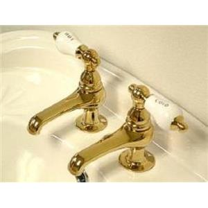 Kingston Brass KS3202PL Restoration Basin Cock Bathroom Sink Faucet - PVD Polished Brass