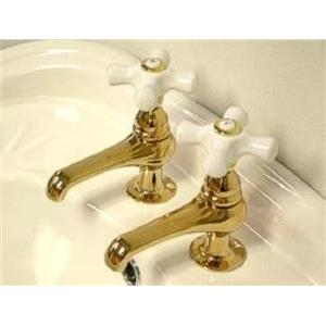 Kingston Brass KS3202PX Restoration Basin Cock Bathroom Sink Faucet - PVD Polished Brass