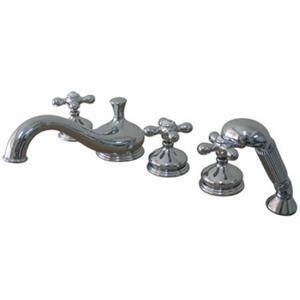 Kingston Brass KS33315AX Roman Tub Filler 5 Pieces With Hand Shower & Cross Handle - Chrome