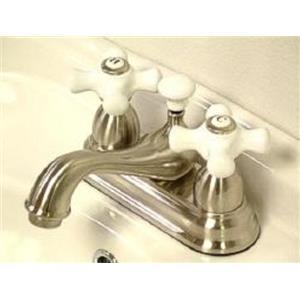 """Kingston Brass KS3608PX Restoration 4"""" Centerset Bathroom Sink Faucet - Satin Nickel"""